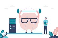 Male Doctor Monitors Brain Training. Brain Raises Heavy Weight Bar. Concept Of Healthcare, Medicine And Improvement Of Skills