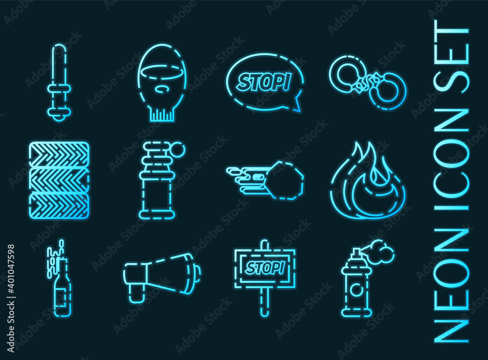 Fototapeta Protest set icons. Blue glowing neon style.