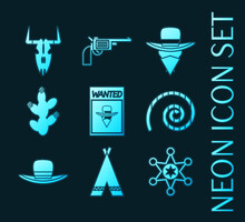 Set Of Wild West Glowing Neon Icons Collection