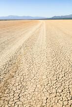 Hard-packed Dry Lake In The Mojave Desert