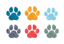Isolated Hand Drawn Water Color Animal Footprints. Silhouette Of A Paw Print. Vector Illustration.