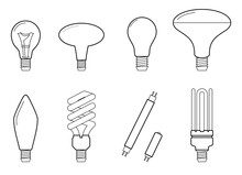 Line Illustration Of Main Electric Lighting Types Incandescent Light Bulb, Halogen Lamp, Cfl And Led Lamp. Flat Icon Collection.