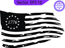 Betsy Ross 1776 13 Stars Distressed US Flag 13 Star Flag , 1776 Flag. Only Commercial Use