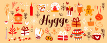 Vector Cute Illustrations For Warm And Cozy Hugge Design. Mulled Wine, Gifts, Cocoa, Warm Red And Yellow Colors Illustration For Your Postcard, Poster, Flyer.