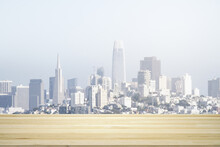 Blank Wooden Table Top With Beautiful San Francisco Skyline At Daytime On Background, Mockup