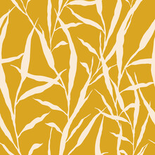 Seamless Patterns. White Stems Of Plants On A Yellow Background. Endless Illustration For Print, Etc.