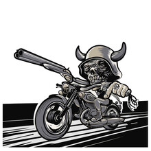 Motorcycle Scull Man And  Gun On A Black Background