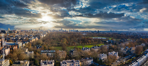 Aerial view of Hyde park in the morning, London, UK. Beautiful park in the middle of the busy city. Similar to Central Park in New York.