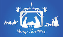 Christmas Scene Of Baby Jesus In The Manger. Mary And Joseph Silhouettes, Bethlehem Star, Angels. Three Kings On Camels. Christian Holy Family. Religious Story Image. Isolated Graphic Design Template