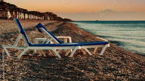 Fotografie, Obraz Sun loungers on the beach