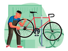 Male Bike Shop Mechanic Fixing Bicycle Wheel In The Workshop. Serviceman Repair And Maintenance Bicycle. Bike Repairing A Bicycle In A Bike Workshop. Bicycle Repair Service Concept Vector Illustration