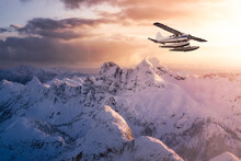 Airplane Flying Near The Beautiful Canadian Mountain Nature Landscape. Adventure Composite. Dramatic Sunset Sky. Background From Near Vancouver, British Columbia, Canada.