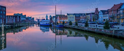 Fotografija North Sea port city of Husum at Christmas time by sunset