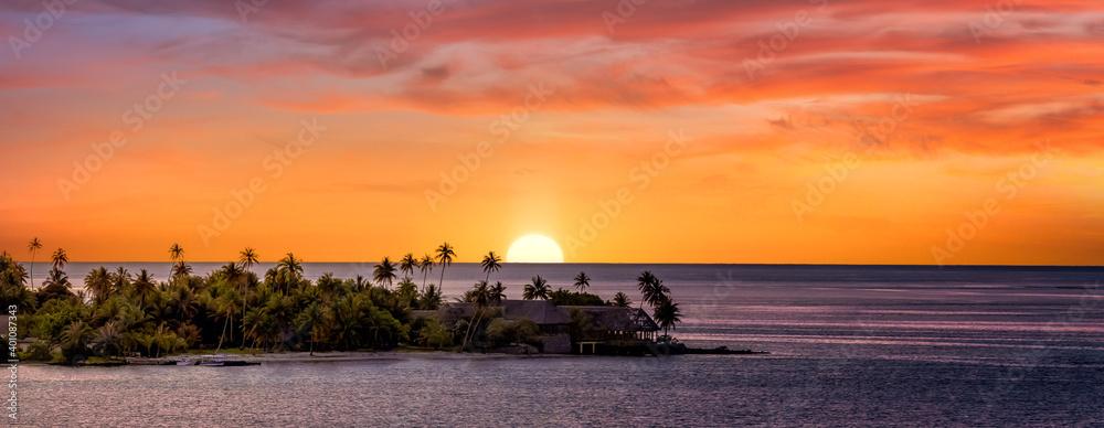 Fototapeta Sunset in Tahiti with pink sky