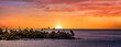 canvas print picture - Sunset in Tahiti with pink sky
