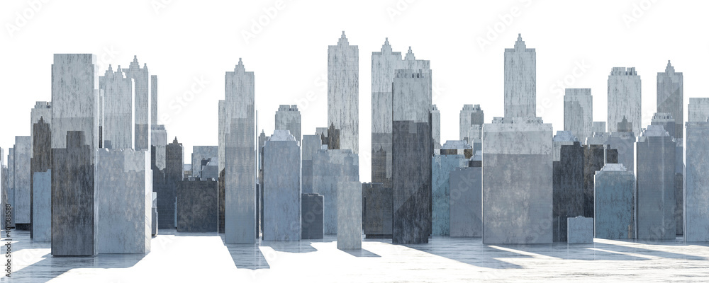 Fototapeta abstract modern city buildings sky scrapers background for design 3d render illustration