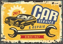 Old Sports Coupe Car Vintage Sign For Service And Repair. Garage Retro Sign. Retro Vector For Transportation Business. Car Graphic Poster Decoration.