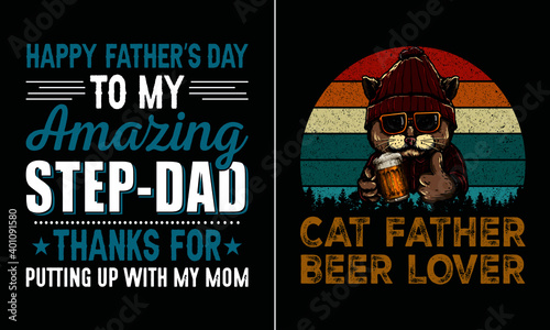 Fototapeta Cat father beer lover t shirt design, Best papa T Shirt Design vector, Dad T Shi