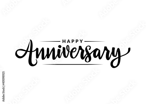 Photo Happy Anniversary calligraphy hand lettering isolated on white