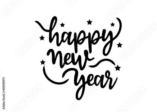 Happy New Year calligraphic text Fotobehang