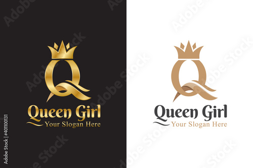 Obraz luxury initial letter Q for queen logo, logotype, symbol, icon - fototapety do salonu