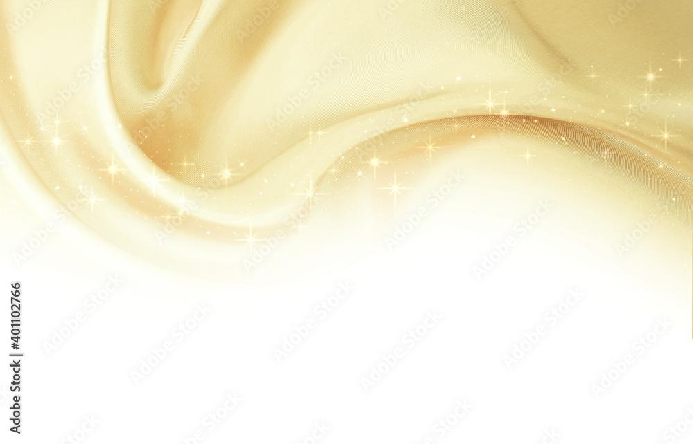Fototapeta ゴールドの布(優美な曲線)光輝く星