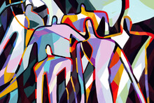 Colorful Abstract Art Print Cubism Art Style, Abstract People With Primary Color. For Print And Wall Art. Picasso And Mondrian Style.