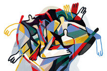 Colorful Abstract Art Print Cubism Art Style, Abstract People With Primary Color. For Print And Wall Art. Picasso And Keith Haring Style.