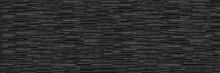 Horizontal Dark Black Modern Slate Brick Wall For Pattern And Background