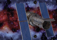 Space Telescope In Deep Space 3d Illustration
