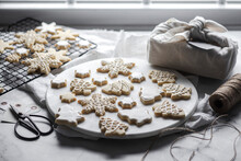 Homamade Christmas Cookies In Festive Shapes