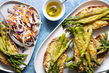 Asparagus And Cheese Toast With Rainbow Coleslaw.