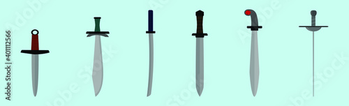 Fotografie, Obraz set of swords cartoon icon design template with various models