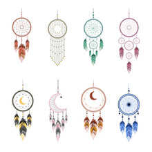 Dream Catcher With Mandala And Feathers. Set Of Hand Drawn Indian Talisman. Ethnic Bohemian Design Element. Vector Hipster Illustration Isolated On White Background. Flat Boho Style.