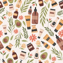 Organic Cosmetics Vector Flat Seamless Pattern. Bottles, Jars And Bags With Fresh Natural Cosmetics, Herbs, Avocado Oil, Flowers. Beauty And Spa, Herbal Aromatherapy Background Design.