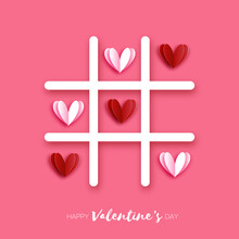 Tic Tac Toe Game With Red Hearts. Love Romantic Holiday. Space For Text. February 14.