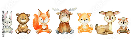 Fotografia, Obraz Moose, hare, squirrel, Fox, deer, badger, bear, cartoon style, on a white background