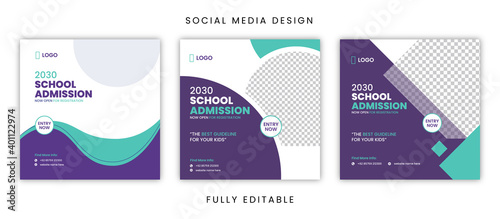Fototapeta Social media design - School admission obraz
