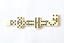 Top View Of A White Domino Board