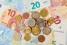 Money Background. 20, 10 And 5 Euros In Paper Money And Various Coins Euro Cents Macro Close Up