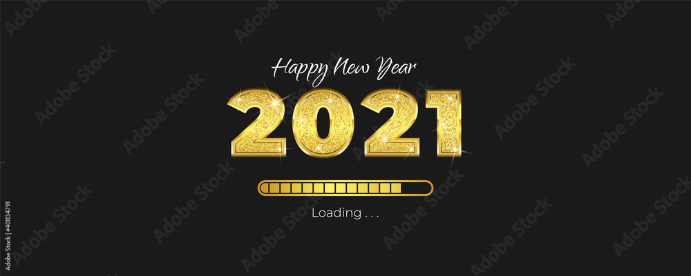 Fototapeta Happy New Year greeting card with loading progress bar concept. New year banner 2021 with fancy 3d concept and glitter on numbers. Luxury holiday vector illustration.