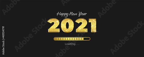 Fototapeta Happy New Year greeting card with loading progress bar concept. New year banner 2021 with fancy 3d concept and glitter on numbers. Luxury holiday vector illustration. obraz