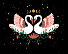 Boho Draws Abstract Two White Beautiful Romantic Dreaming Swans Couple In Love With Floral Flowers Bouquet. Happy Valentine's Day Objects. Love Wedding. Mystic Swans In The Dark. Vector Illustration