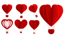 Hearts Hot Air Balloon Valentine Vector Set. Red Hot Air Balloons In Heart Shape Element Isolated In White Background For Valentines Romantic Decoration Collection Design. Vector Illustration