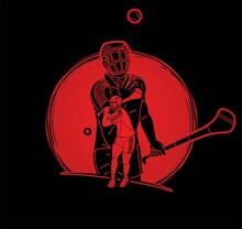 Group Of Hurling Sport Players Action. Irish Hurley Sport Cartoon Graphic Vector.