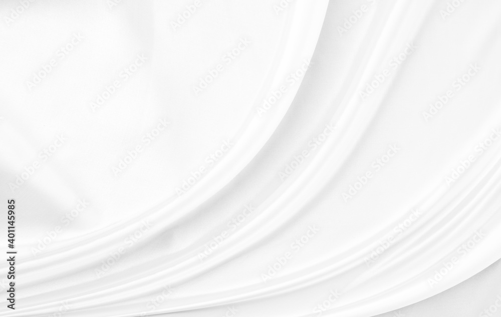 Fototapeta White gray satin texture that is white silver fabric silk background with beautiful soft blur pattern natural.