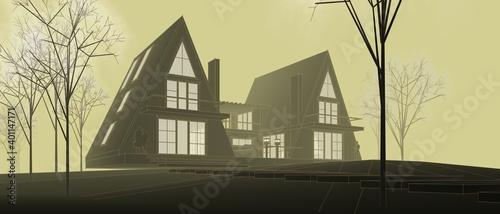 Obraz townhouse architectural sketch 3d illustration - fototapety do salonu