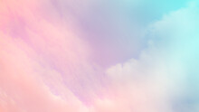 Sky Pastel Color Sun And Cloud. Blue Orange Pink Gradient Abstract Smooth Peaceful Morning Summer Background.