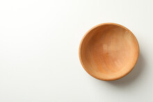 Empty Wooden Bowl On White Background, Space For Text