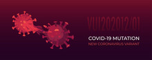Covid-19 Mutation Process. New Variant Of Coronavirus. Changing Genetic Structure To New Strain. Named VUI-202012. Vector Illustration Of Process With The Spike Protein. Banner Or Poster For Medicine.